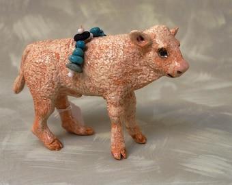 ceramic small standing buffalo calf totem