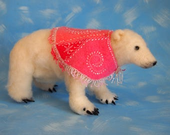 needle felted polar bear with beaded cashmere cape