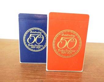 Delta Airlines 50 Years card decks, set of two marked 1929-1979