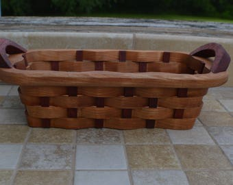 small candy basket handles Red Elm wood