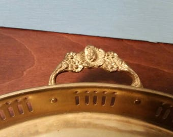 Brass Tabletop Tray with Flowered Handles - 11 in.