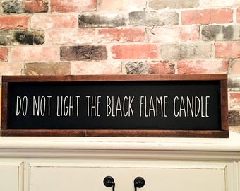 Black Flame Candle Hocus Pocus Inspired painted solid wood sign
