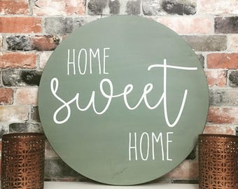 Home sweet home painted solid wood sign