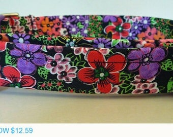 "Sale - 40% Off Girly Dog Collar - Bright Multicolor Flowers on Black Fabric - ""Midnight Garden"""