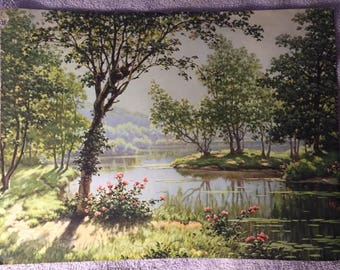1920s Serene Art Deco Lake Scene Print of Parrish Like Painting Lush Greenery and Trees and Water