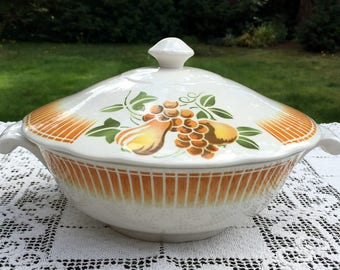 Faience of France/Luneville Casserole/Keller & Guerin/Pear and Fruit Pattern/Dishwasher Safe/ LUN14 Covered Dish/France