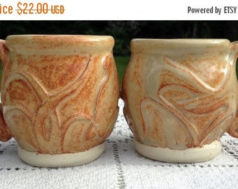 17% OFF SALE 2 Handthrown Mugs / Stoneware Coffee Mugs /  Dragonfly & Frog Design /  Sand Color Glaze / Art Pottery Mugs / Gift For Couple /