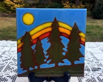 Save 15% OFF Trees & Moon Tile/ 6 x 6 Ceramic Tile/Green Fir Trees/ Mountains and Moon/Green Blue Yellows/Coaster Trivet Art Tile/Rustic Cab
