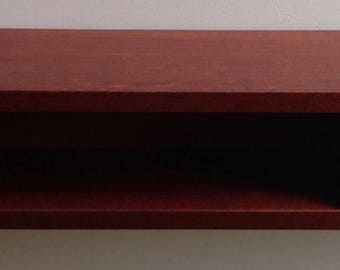 Solid jatoba floating shelf with drawer