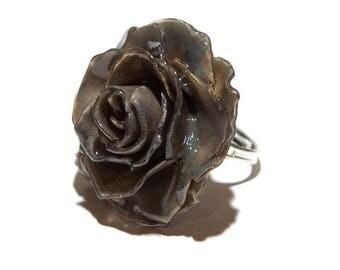 Rose flower ring, Flower ring, Rose jewelry, Rose ring, Flower statement ring, Rose ring for women,