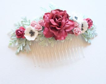 Bridal Hair Comb, Burgundy Hair Comb, Bridesmaids Hairpiece, Bridal Floral Comb, Burgundy Wedding, Rose Hair Comb, SERENDIPITY