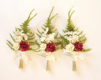 Mens Boutonniere Burgundy, Marsala Wedding, Winter Wedding, Rose Boutonniere, Grooms Lapel Pin, Dried Flower Boutonniere, BURGUNDY  ROSE