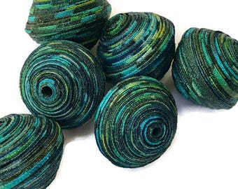 Textile Beads, Fabric Beads, Large and Chunky Beads, Navy Blue, Turquoise, Yellow, White Speckled Beads, Diamond Double Bicone Unique Beads