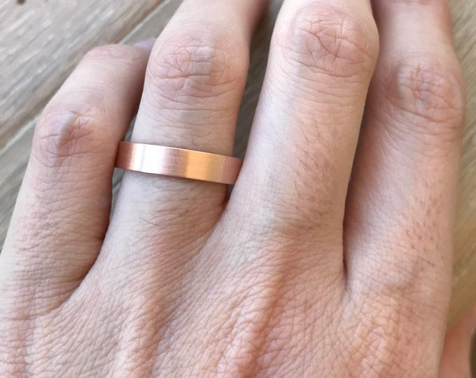 14k Rose Gold Band- Rose Gold Wedding Band- 4mm Unisex Wedding Band- His Her Wedding Band- Simple Wedding Band- Men Woman Wedding Band
