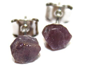 Raw Purple Sapphire Stud Earring Gifts for Her Gifts for Wife Valentines Gifts for Girlfriend Gifts for Women Best Valentines Gifts