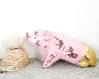Pretty Pig - Pink and Gold - Unique Accent Piece - Pig Decor - Gift for Pig Lover