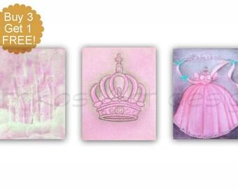 Baby Girl Nursery Art, Princess Nursery Art, SET of 3 Art Prints, Crown, Castle, Cinderella, Princess decor, Princess wall art, Pink Nursery