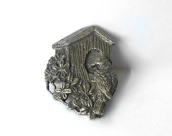 Vintage Brooch Pin Birds & Blooms Limited Edition 1997 Pewter MmV