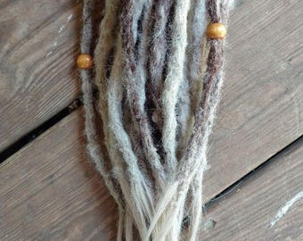 """22 Permanent Synthetic Dreads Dreadlock Extensions Light Blonde Brown Mix 15"""""""