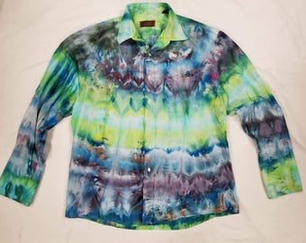 Funky Tie Dye Mens Button Up Dress Shirt size Large