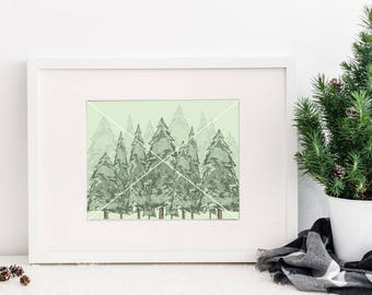 Evergreen Printable, Forest Printable, Watercolor Evergreen, Printable Wall Art, Mountain Landscape, Forest Landscape, Watercolor Trees