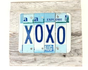 License Plate Sign - XOXO Sign - Love Sign - Blue and White Sign - Minnesota Sign - Rustic Reclaimed Wood Sign - Reclaimed Metal Sign