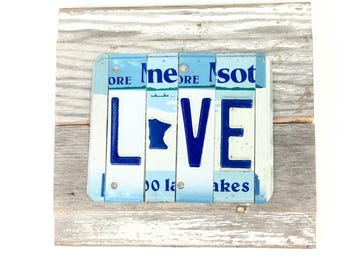 License Plate Sign,Minnesota Love Sign,MN Love Sign,Blue and White Sign,Minnesota Sign,Rustic Reclaim Wood Sign,Reclaimed Metal Sign,MN Gift