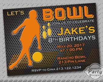 Boy Bowling Birthday Party Invite Invitation Orange Black Printable Personalized Customized 5x7 or 4x6