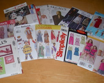 Free shipping! ALL UNCUT Lot of 12 assorted sewing patterns. Clothing, costumes and crafts.