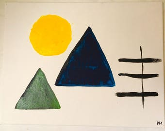 Circle and Triangle Painting on Canvas