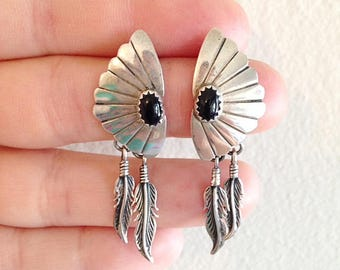 Southwest Desert Style Sterling Silver and Onyx Feather Earrings