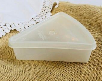 Pie slice container with lid vintage Tupperware white plastic storage wedge