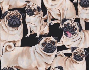 Timeless Treasures, Pugs, Pug Dogs on Black, 100% cotton