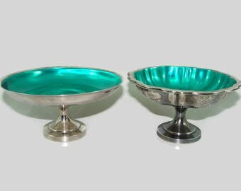 2 Silverplate and Green Enamel Pedestal Dishes, Oneida Silversmith Candy Dish, Wm. A. Rogers Footed Bowl