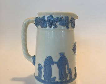 Wedgewood Pitcher Blue & White Teapot / Vintage