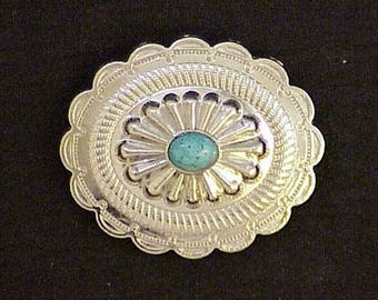 S.W. Oval screw back nickel concho with turquoise