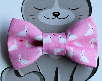 Easter Bunny Bow Tie for Cat, Dog Bow Tie, Slide on Collar Accessory, Cat Costume, Pet Bowtie, Handmade in Canada, Pink, White, Rabbit