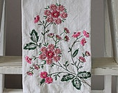 Vintage Tea Towels Shabby Embroidered Huck Weave Dish Towel
