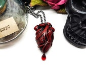 Anatomical Heart Necklace, red heart necklace, gothic valentine, Valentines jewellery, Valentines gift, medical jewellery, cardiac