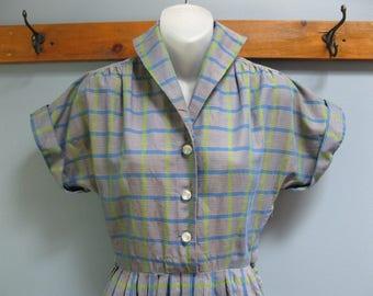 1950's Blue Green Plaid Rockabilly Dress
