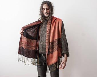 Pashmina Cashmere Wool Scarf 70s Paisley Pattern Shawl Wrap Orange Rust Red Warm Winter Scarf Echarpe En Laine et kaschmir