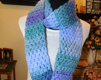 Handmade, Chunky Weight, Purples and Greens Infinity Scarf