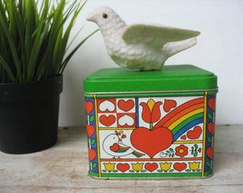 Vintage Love Hearts Rainbow Peace Dove Tin By Potpourri Press Scandinavian Design Made In USA Christmas Cookie Tin Greensboro NC