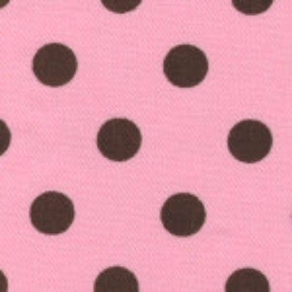 SALE - High Quality Fabric Finders Premium Brown Dots on Pink Twill