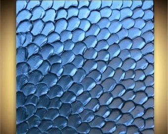 SALE Original  Modern  Blue Metallic Impasto Textured  Palette Knife  Wall Art  Painting . Made2Order