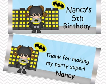 Batgirl - Superhero - Personalized Candy Bar Wrapper, Birthday, Baby Shower