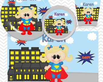Supergirl Plate, Bowl, Cup, Placemat - Personalized Super Hero Dinnerware for Kids - Custom Tableware