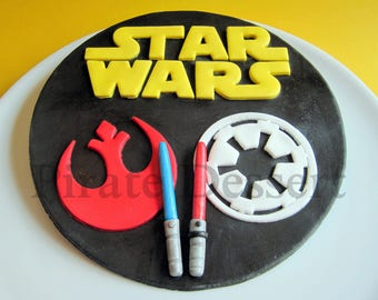EDIBLE Star Wars Cake Topper -REBEL Alliance & Galactic EMPIRE Logo- Deluxe Star Wars Cake Topper- Jedi- Dark Side- Fondant topper (1 piece)