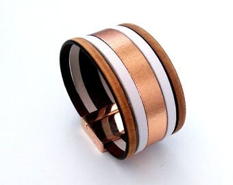 cuff leather camel white and gold vintage pink with magnetic rose gold