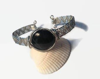 Agate Cuff Bracelet/ Black Stripe Agate Cuff bracelet in Silver/ Wire Wrap Bracelet/ Wire Wrap Jewelry